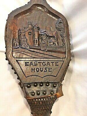 BELLOWS Eastgate House carved Wood & Leather Antique LISTER & CO
