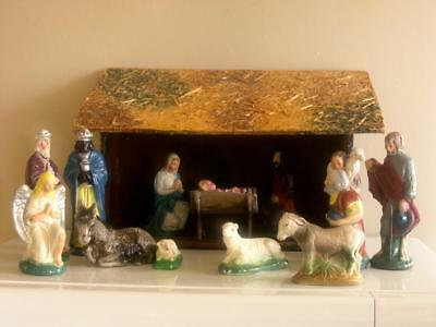 Vtg 1950s Christmas Nativity Figurines and Manger 15 PC Creche Stable Animals