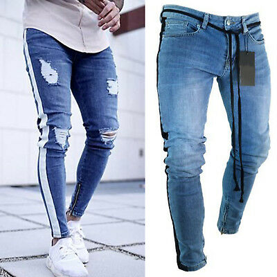Mens Stretchy Ripped Skinny Biker Jeans Destroyed Slim Long Denim Pants Trousers