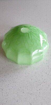 Green And White Mottled Glass Lamp Shade Art Deco