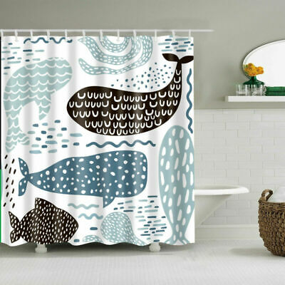 Cute Whale Children Shower Curtain Waterproof Fabric Bath 12 Hooks Decor