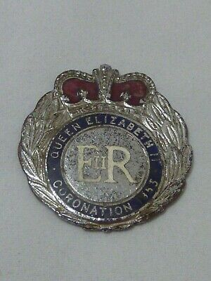 Vintage Queen Elizabeth II Coronation 1953 badge - Coonabarabran NSW
