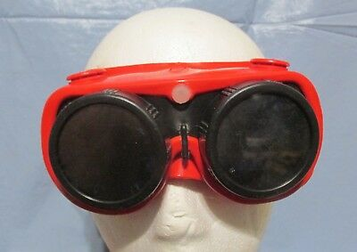 Vintage Steampunk Safety Welders  Motorcycle Red Goggles Mad Max Goth Props