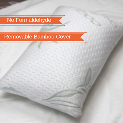 Memory Foam Pillow with Removable Bamboo Cover - 2 PACK - 70 x 40 cm