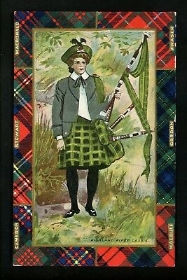 Music / Dance postcard Scottish Woman w/ bagpipes instrument Highland Piper Lass