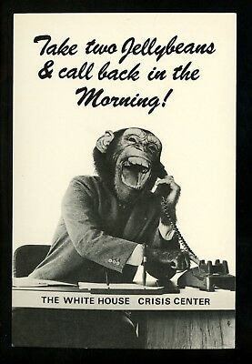 Political President postcard Ronald Reagan comic monkey White House Crisis