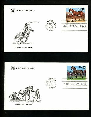 US FDC #2155-2158  Readers Digest Cachet American Horses 1985 Set of 4