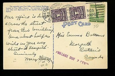 Postal History Canada Scott #J15 Pair Short Paid/Postage Due 1943 to Worpeth ONT