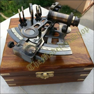 Brass Nautical Sextant W/ Wooden Box Collectible Instrument Gift..