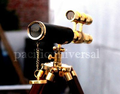 Antique Brass Leather Telescope With Wooden Tripod Navigational Vintage Gift