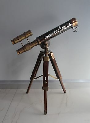 Vintage Brass Nautical Telescope With Wooden Tripod Working Scope Handmade Gift