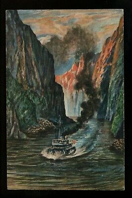 Japan Pre WWII postcard Ship boat passing through Circa 1930's 1940's