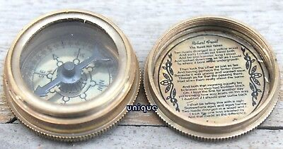 Nautical Royal Navy Brass Poem Compass Robert Frost Engraved Collectible Item
