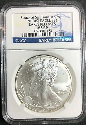 2013 S American Silver Eagle BU 1 Ox .999 Fine NGC Graded MS-69 SF Early Release