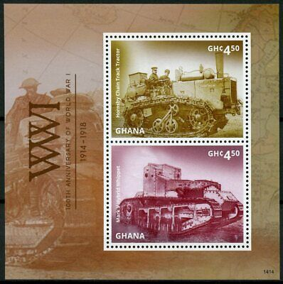 Ghana 2014 MNH WWI WW1 World War I Whippet 2v S/S I Tanks Military Stamps