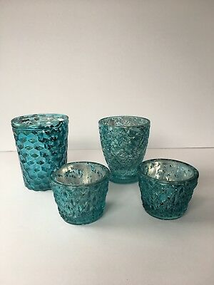 # 4 X BED BATH N' TABLE CANDLE HOLDERS Tea Light Blue Teal Glass Cups VERY GOOD
