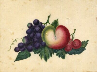 Antique 19th-century Painting on Chinese Pith, Fruit Still Life