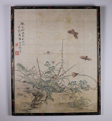 Antique 19th Century Chinese Painting on Silk of Insects