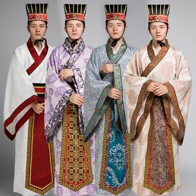 Chinese Warring States Period Men's Nobles Official Clothing HanFu, Costume #735