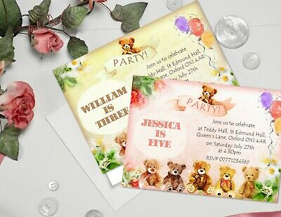 Personalised Teddy Bear Party Invitations & Envelopes - Pink or Brown