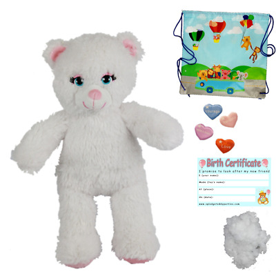 "SPARKLY WHITE CAT -  16""/40cm - BUILD A TEDDY BEAR MAKING KIT - NO SEW"