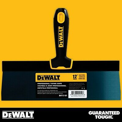 "DEWALT Taping Knife 12"" Premium Blue Steel Drywall Finishing Tool Soft-Grip"