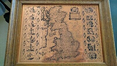 Vintage cooper Etching Map Of Great Britain