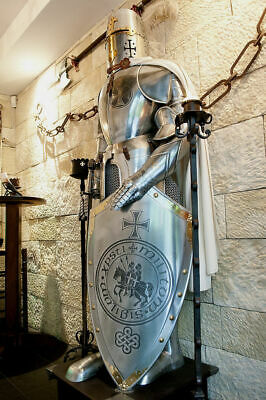 Rare Medieval Knight Suit Of Templar Armor W/Sword Combat Full Armour 16 Gauge