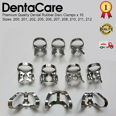 Dental Restorative set of 10 Rubber Dam Clamps / Colliers - DentaCare UK