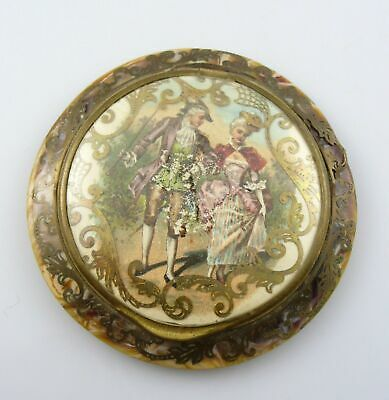 Vintage 1920s Handmade Celluloid Ornate 18th Century Scene Design COMPACT