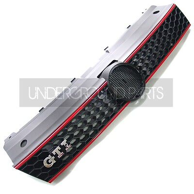 Vw Polo Gti Style Honeycomb Black Red Mesh Front Radiator Bumper Grille Panel
