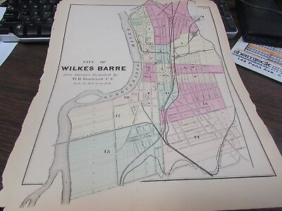 Antique - Original City Of Wilkes-Barre Pa Map - Plus Business Notices Vg