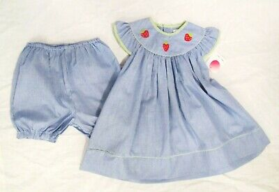 265b242e91c11 NWT Petit Ami Navy Gingham Strawberry Baby Girls 2pc Dress Bloomers 18  Months