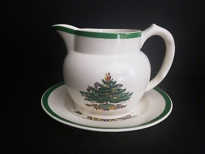 "Spode Christmas Tree Creamer Milk Water Juice Pitcher Jug And 8"" Plate England"