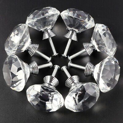 40mm Clear Crystal Glass Door Knobs Cupboard Drawer Cabinet Handles x8