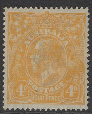 AUSTRALIA SG22a 1915 4d YELLOW-ORANGE MTD MINT