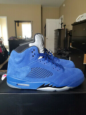 dbedef0e779 NIKE AIR JORDAN 5 Retro Blue Suede Game Royal WORN ONCE Sz 13 ...