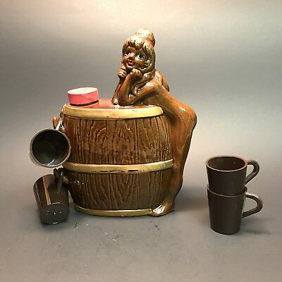 Sexy Girl Woman Barrel Decanter with 4 Cups Japan Naked Man Cave Drinking
