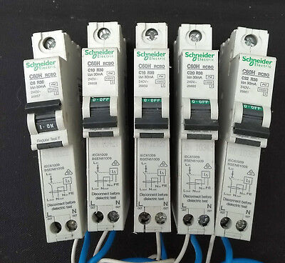 Schneider/Merlin-Gerin RCBO's 30mA C60H 6A, 10A, 16A, 20A, 32A, 45A.  All Tested