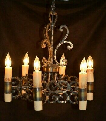 Vintage Mid-Century Medieval Style Hanging 6 Light Chandelier Neo - Gothic