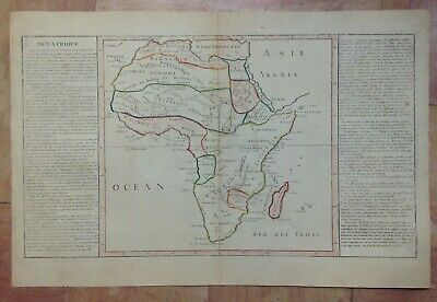 AFRICA XVIIIe CENTURY by CLOUET LARGE UNUSUAL COPPER ENGRAVED MAP