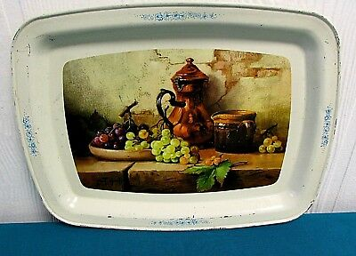 "ANTIQUE Metal Serving Tray ""Grape Still Life"" by ROBERT CHAILLOUX Vintage AC15"