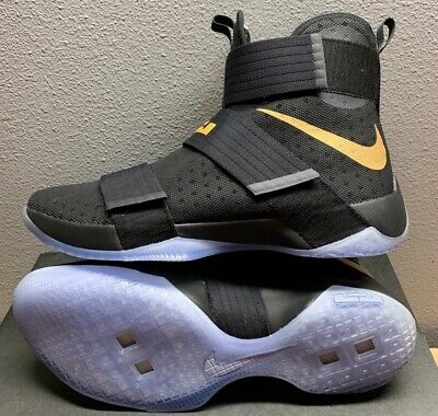 promo code d85ce b1135 NIKE ID ZOOM Lebron Soldier 10 Championship Pack Black Gold 885682-991 SZ  14 New