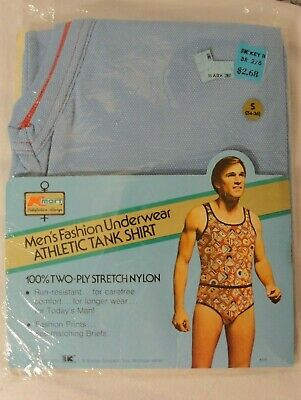 deedaf41be5a22 Vtg Nos Kmart Mens Fashion Underwear Athletic Tank Top Shirt Nylon Sz S  34-36