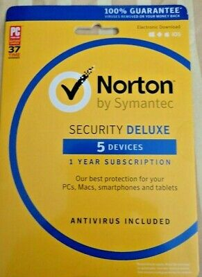 Norton Security Deluxe 5 Devices [PC Mac Android iOS - New In Retail Box]