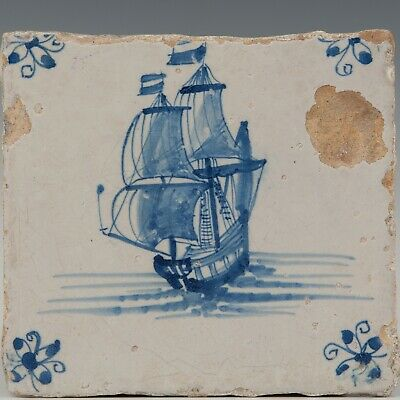 Nice Dutch Delft Blue tile, V.O.C. ship,17th. century.