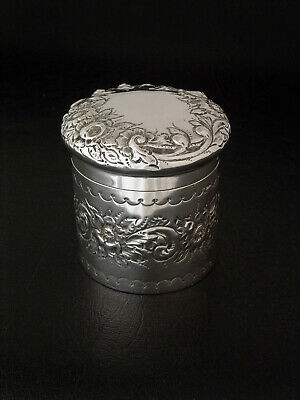 ANTIQUE REPOUSSE' ENGLISH STERLING SILVER 925 COVERED JAR BOX CHESTER c.1900