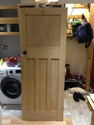 """29 1/2x76 1/2"""" Reclaimed 1930s Stripped Pitch Pine  Panel 1 Over 3 Internal Door"""