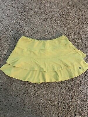 Lija Match Tennis Flounce Skirt Skort Medium In Lemon Yellow Euc Activewear Bottoms