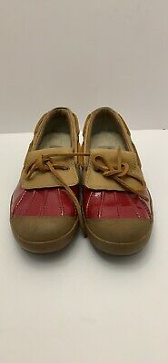 ad4b0e8ccbf UGG AUSTRALIA HAYLIE lined boat shoe, Red and Tan, Size 7.5, Gently Preowned